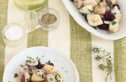 Baccalà con carote viola e patate