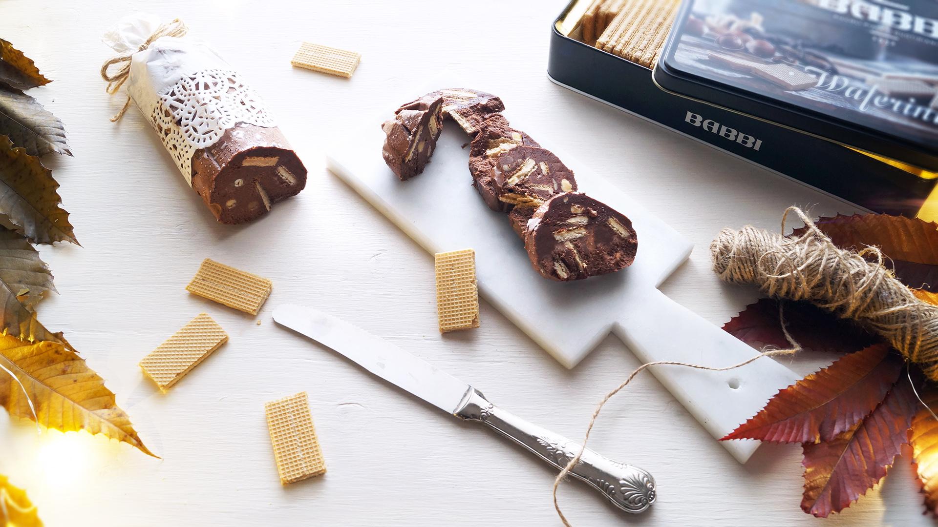 Dolci Da Credenza Biscotti Alle Nocciole : Salame di cioccolato con nocciole e waferini babbi say good