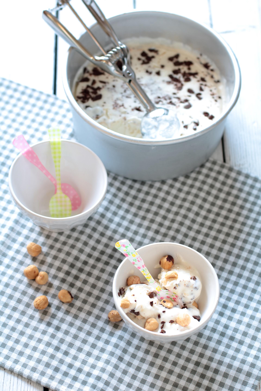 Gelato al cocco e yogurt con fondente
